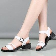 GKTINOO Big Size 35 41 Sandals Women 2020 Genuine Leather Women Thick Heel Sandals Ladies Summer Shoes Buckle Strap Sandals
