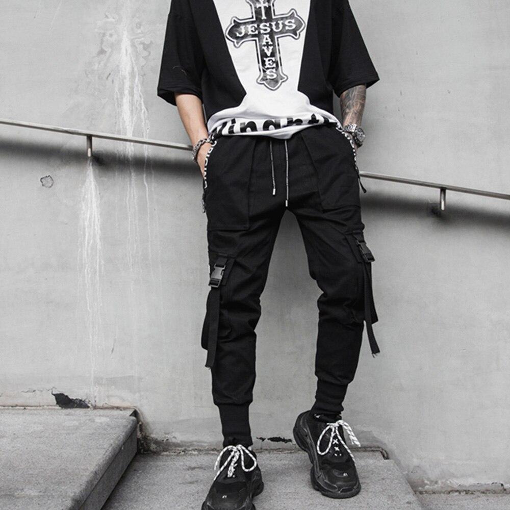 Hip Hop Men Black Harem Pants Streetwear Multi-pocket Men Sweatpants Streetwear Casual Mens Hip Hop Pants M-2XL