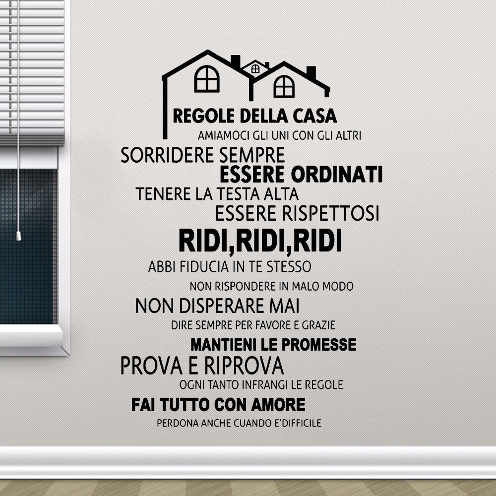 Free Shipping Italian House Rules Vinyl Wall Decals Mural , Wall Sticker Home Decor Family Quote In Italian House Decoration