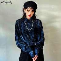 Shirts Frauen Langarm Lose drehen-unten Kragen Tie Dye Modische Chic Casual Täglichen Stilvolle Streetwear Weibliche Blusen Ulzzang