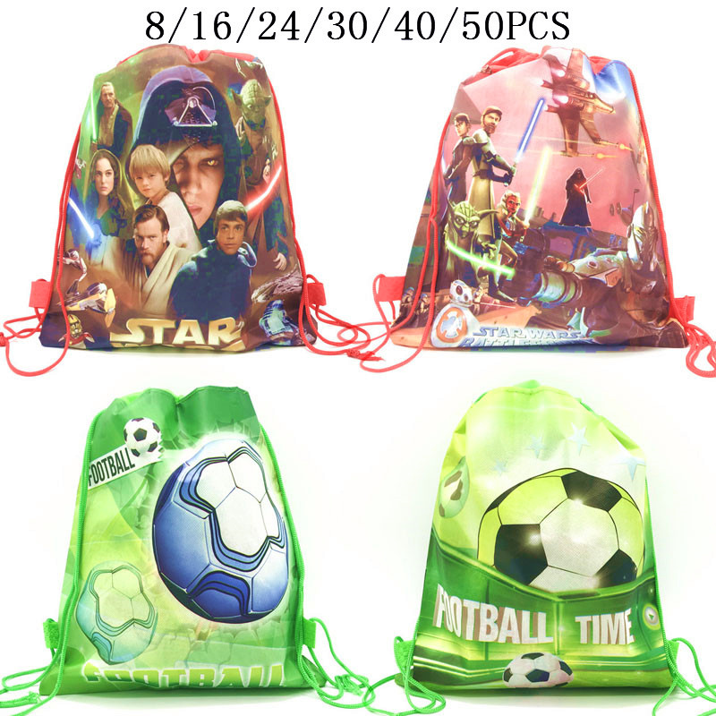 8/16/24/50PCS Movies Star Wars Drawstring Bags For Boyss Kids With Gift Or Candy Travel Package Sports Football School Backpack