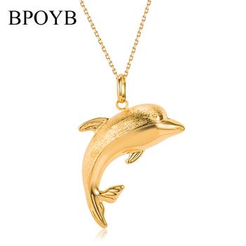 BPOYB musujące czystego złota próżniowe poszycia urok dubaj afryka delfin naszyjnik wisiorek dla kobiet mężczyzn luksusowa biżuteria tanie i dobre opinie Miedziane Kobiety Wisiorki CN (pochodzenie) TRENDY łańcuszek NASZYJNIKI Metal Dolphin Na imprezę moda CN0019 4 Years