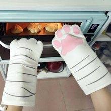 Длинные Хлопковые варежки для духовки с 3D рисунком кота и лап, изоляционные перчатки для выпечки, термостойкие Нескользящие кухонные перча...
