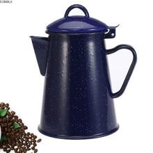Coffee-Pot Enamel Teapot Hand-Tea Blue Starry-Sky Home-Decor Vintage High-Quality