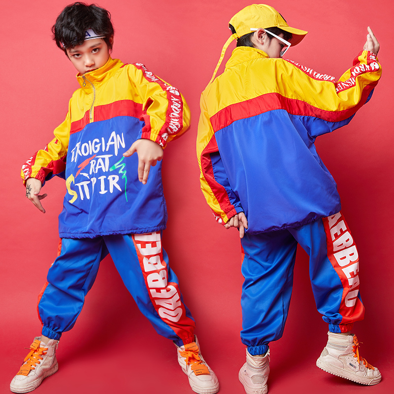 Jazz Dance Costumes For Boys Hip Hop Stage Rave Outfit Color Stitching Street Dance Practice Wear Performance Clothing DC2917