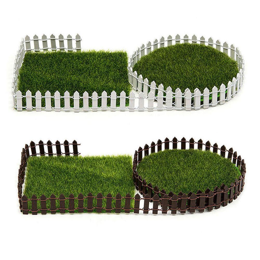 Miniature Garden Fence Wood DIY Garden Decor Fairy Accessories Plant Border Decorations Dollhouse Gates Decor White/Coffee Color
