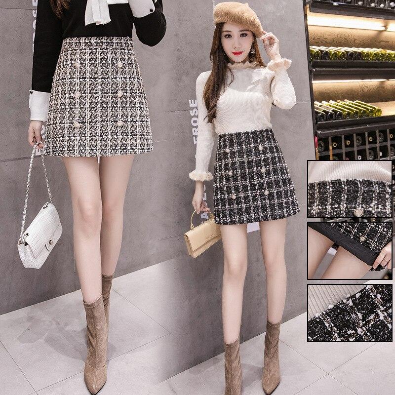 Buckle Graceful High-waisted Plaid A- Line Skirt Short Skirt With Lining Woolen Skirt A- Line Skirt Women's
