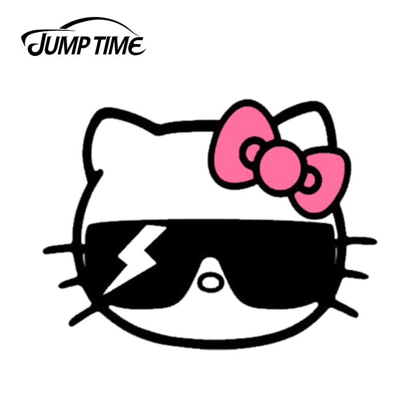 Jump Time 13cmx9.8cm Funny Kawii Hello Kitty Bad Cat Sticker Vinyl Car Sticker Laptop Luggage Waterproof Car Styling Accessories