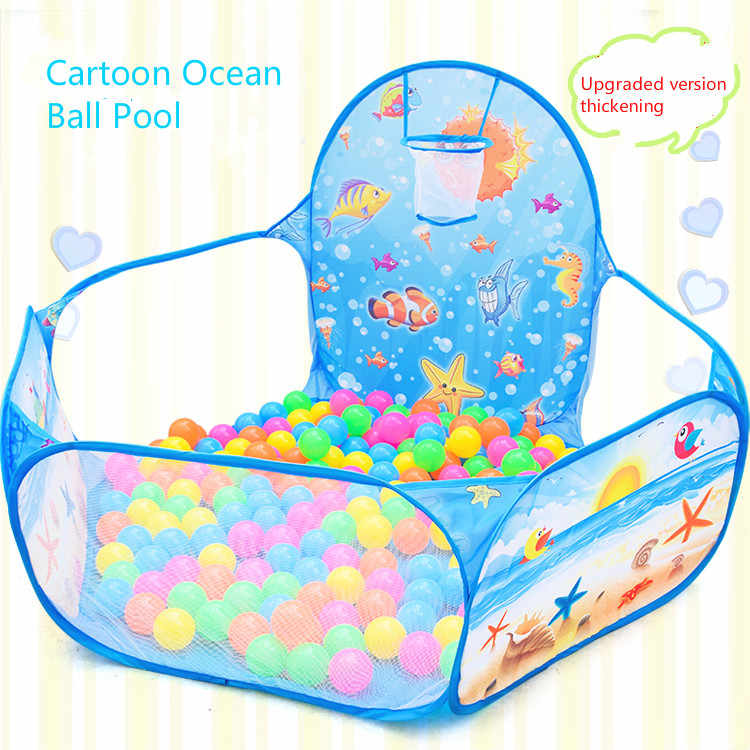 Cartoon klapp innen ozean ball pool layout zaun baby spiel haus kinder zelt farbe welle ball pool