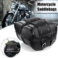 2pcs Universal Motorcycle Saddlebag PU Leather Side Tool Luggage Bag For Honda/Suzuki/Kawasaki/Yamaha