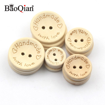 50Pcs 2Hole Natural Wooden Buttons handmade with love wood Button For Scrapbooking Craft DIY Baby Clothing Sewing Accessories - discount item  28% OFF Arts,Crafts & Sewing