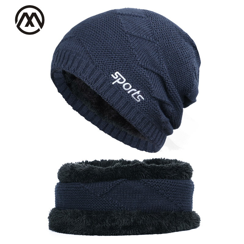 2019 Classic Men's Winter Knit Hat Scarf Set Sports Casual High Quality Cotton Cap Bib 2 Sets Plus Velvet Thickening Men's Peas