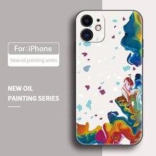 Watercolor silicone líquido caso do telefone para o iphone 12 11 pro max mini xs x xr 7 8 plus capa macia caso doces proteção da câmera