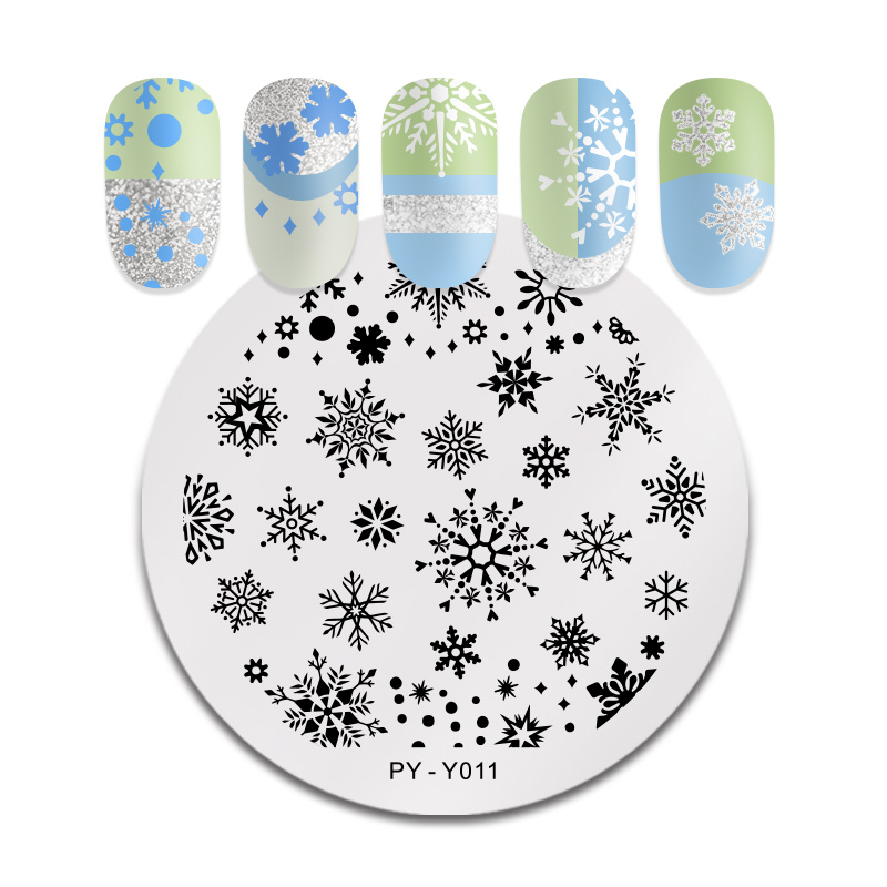 PICT YOU Christmas Festival Winter Snowflake Star Nail Stamping Plates New Year Stamping Templates Plates Stencil Accessories