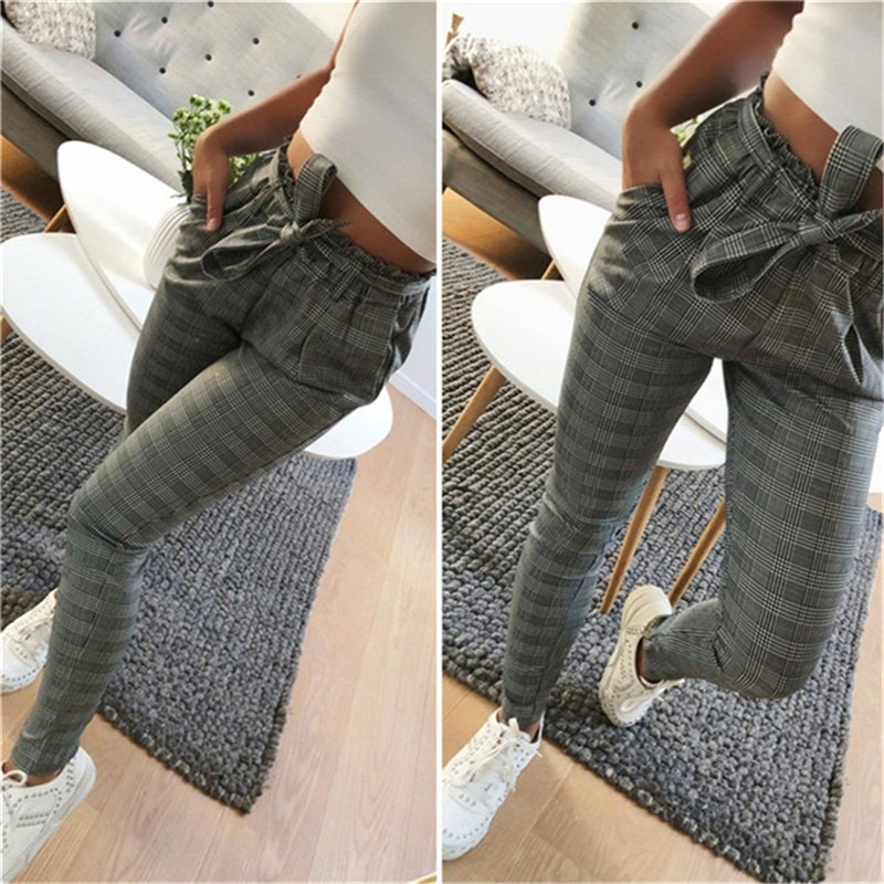 2020 New Striped OL Chiffon High Waist Harem Pants Women Stringyselvedge Summer Style Casual Pants Female Trousers