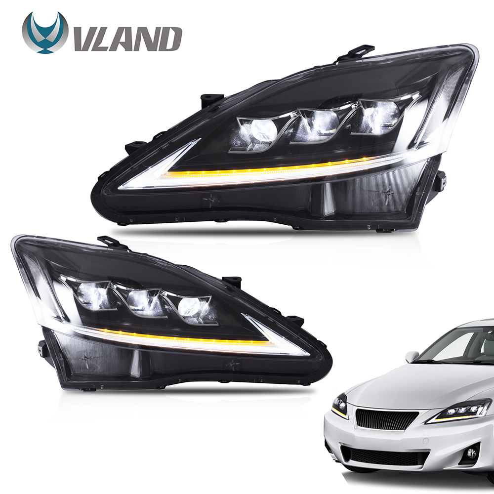 VLAND Headlamp Car Assembly for <font><b>LEXUS</b></font> IS250 Headlight IS350 IS300 2006-2012 IS220d/<font><b>IS</b></font> F Clear Headlamp with moving turn signal image