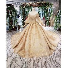 BGW HT42128 altın dantel düğün elbisesi tren kabarık yarım kollu püskül prenses gelin elbise kız Vestidos De Novia 2020