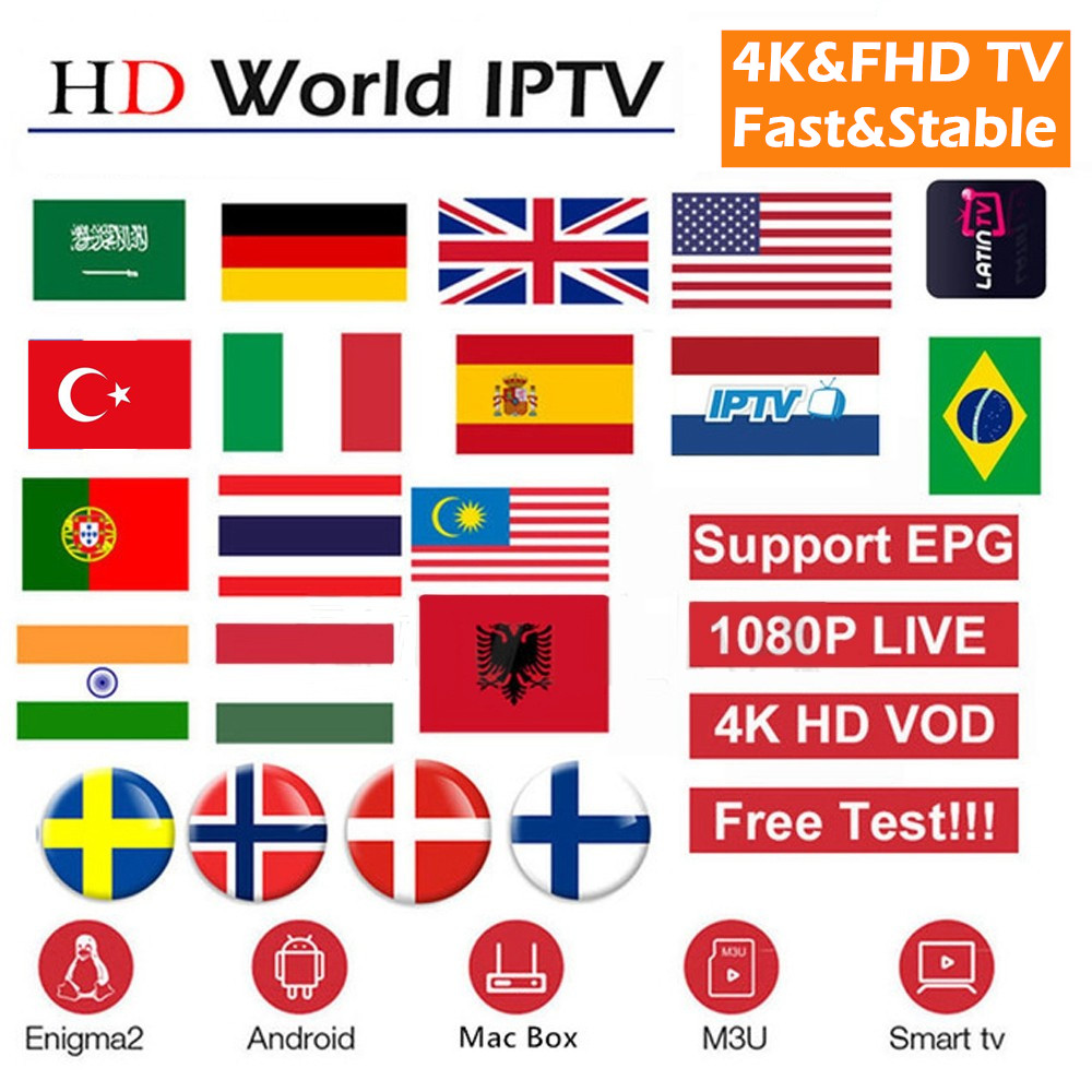 World FHD 1080P 4K IPTV Subscription Europe Arabic IPTV M3u Android MAG 7500 channel better than neotv pro volka(China)