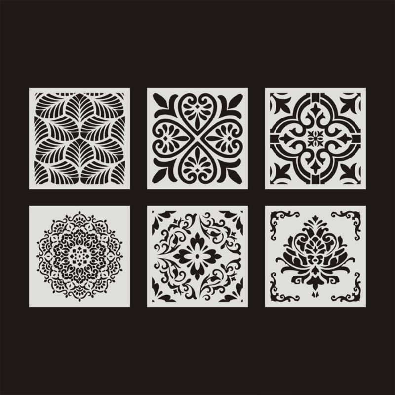 6pcs/set Mandala Stencil Wall Painting DIY Drawing Template Ruler For Floor Tile C26