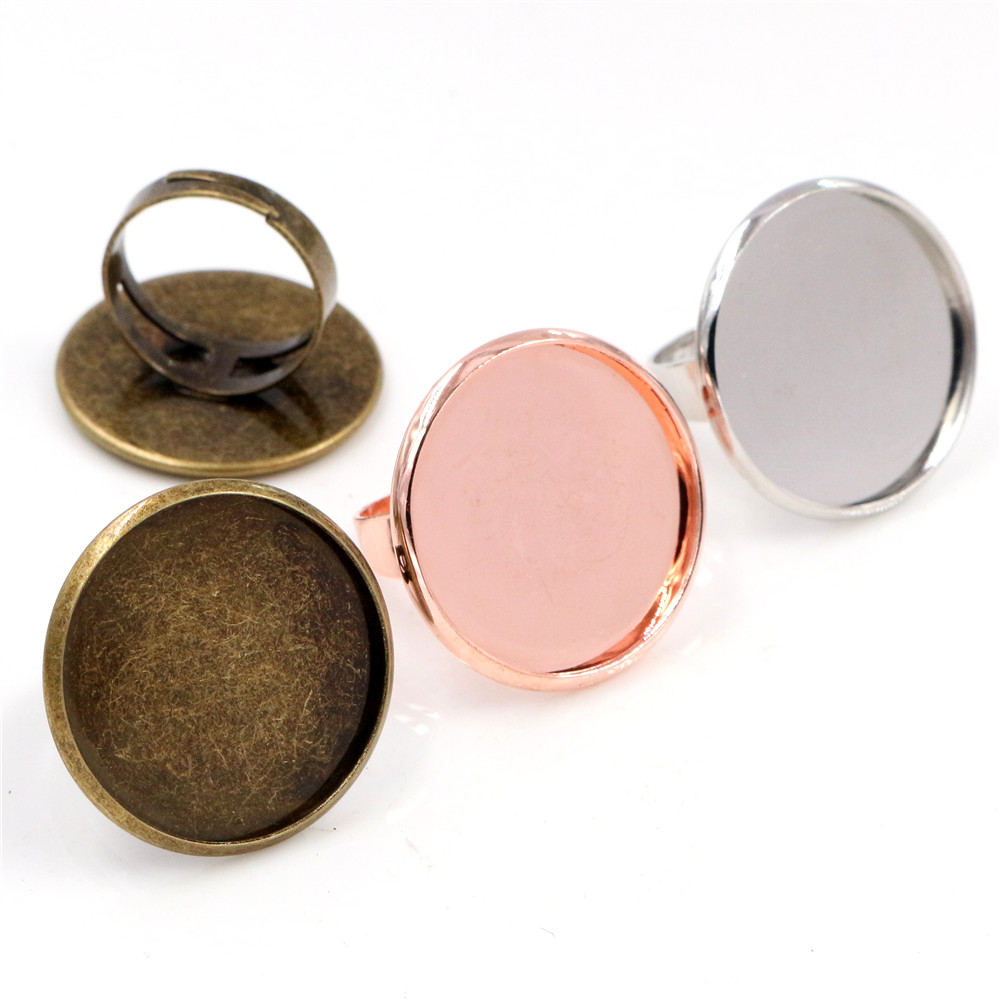 25mm 4pcs 3 Colors Plated Brass Adjustable Ring Settings Blank/Base,Fit 25mm Glass Cabochons,Buttons;Ring Bezels
