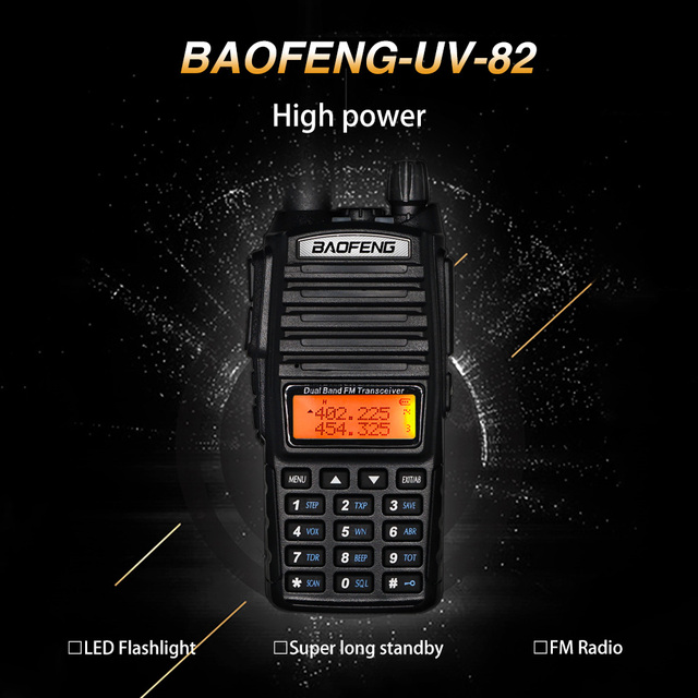 Tri-power Baofeng UV-82 8W High Power Walkie Talkie Dual Band VHF/UHF Portable Two Way Ham CB Radio UV82 Amateur UV 82 intercom