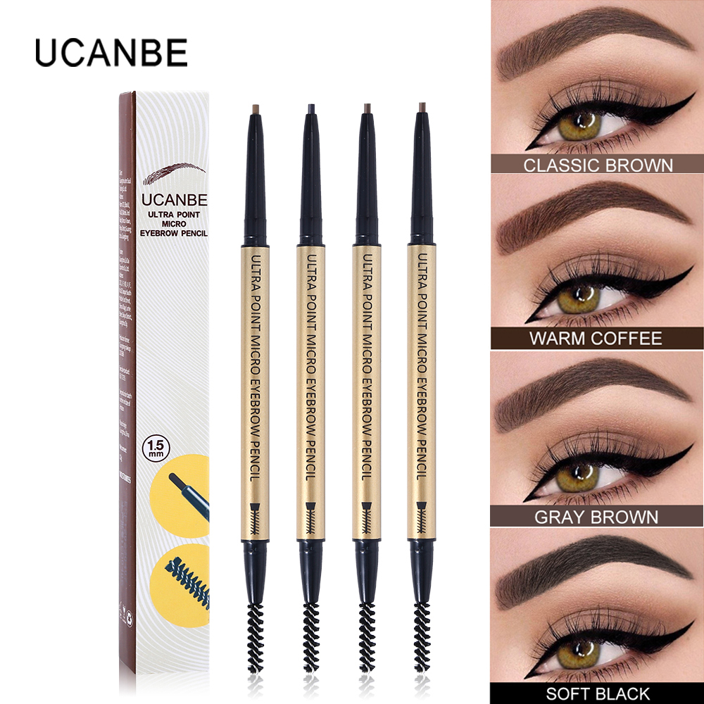 UCANBE 4 Colors Ultra Point Micro Eyebrow Enhancers Pencil Fine Sketch Natural Eye Brow Waterproof Long Lasting Eyebrows Makeup image
