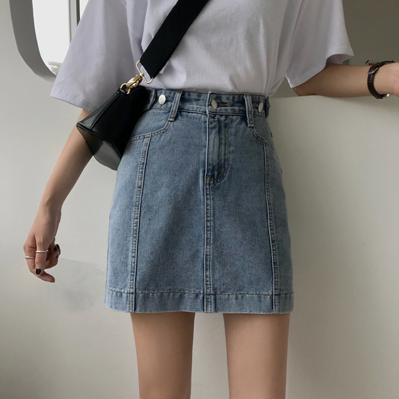 Autumn 2019 New Style Korean-style Slimming High-waisted Denim Skirt Spring Women's Versatile Sheath A- Line Skirt Students' Ski