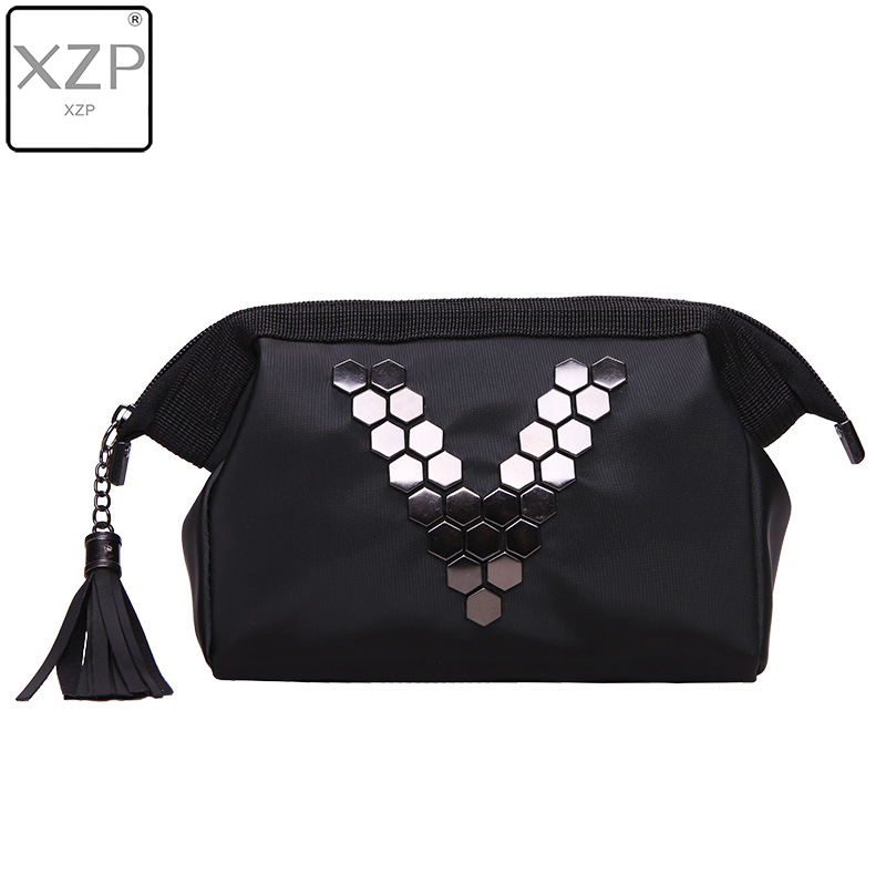 XZP Waterproof Nylon Cosmetic Bags Stud Makeup Bag Big Tassel Travel Organizer Professional Storage Necessaries Case Pouch Bag