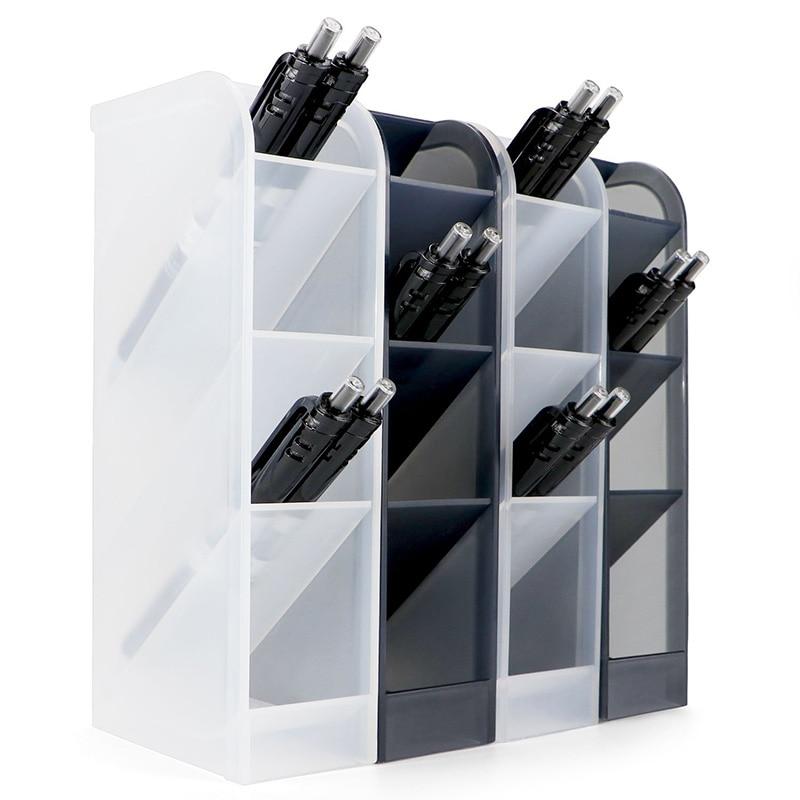 4 Pcs Desk Organizer, Pen Organizer Storage For Office, School Supplies, Translucent Black & White Pen Storage Holder, Set Of 4,