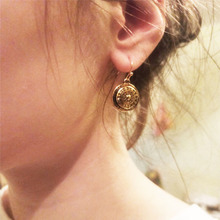 Antique Gold Round Engraved embossing Disc Earring For Women Girl Vintage Bohemia Decoration Accessory