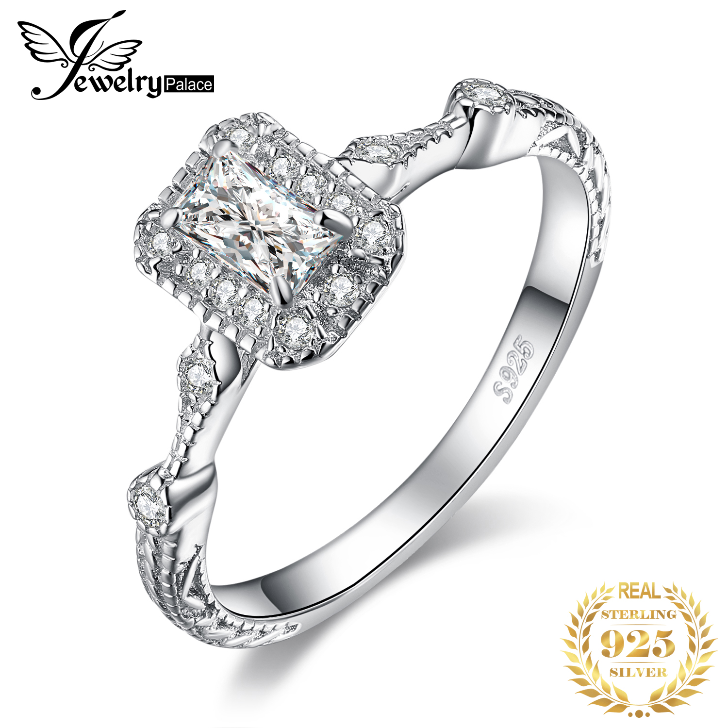 JPalace Vintage Milgrain Engagement Ring 925 Sterling Silver Rings for Women Anniversary Ring Wedding Rings Silver 925 Jewelry