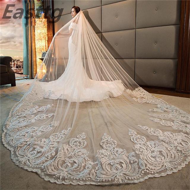 Роскошная Высококачественная Белая/слоновая кость длинная вуаль для свадьбы в соборе длина Кружевная аппликация 4 м свадебная вуаль с расческой свадебные аксессуары