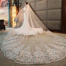 Luxe Hoge Kwaliteit Wit/Ivoor Lange Bridal Veils Kathedraal Lengte Lace Applique 4M Bruiloft Sluier Met Kam Wedding accessoires