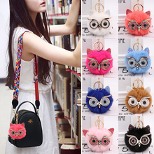 цена 2020 New Cute Fluffy Rabbit Fur Owl Pom Pom Ball Keychain Keyring Car Key Ring Chain Charm Women Bag Pendant Decorative онлайн в 2017 году