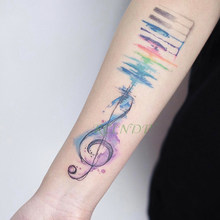 Waterdichte Tijdelijke Tattoo Sticker Aquarel Muziek Opmerking Tatto Stickers Flash Tatoo Fake Tatouage Art Hand Voet Voor Meisje Vrouwen(China)