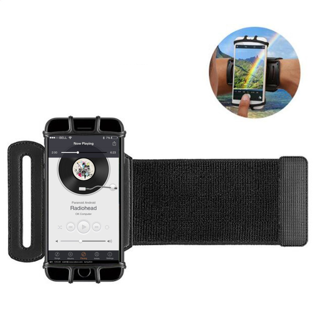 Sports Phone Armband Case Universal For IPhone X 8 7 Rotatable Elastic Wrist Running Arm Band With Key Holder For 4-6 Inch Phone
