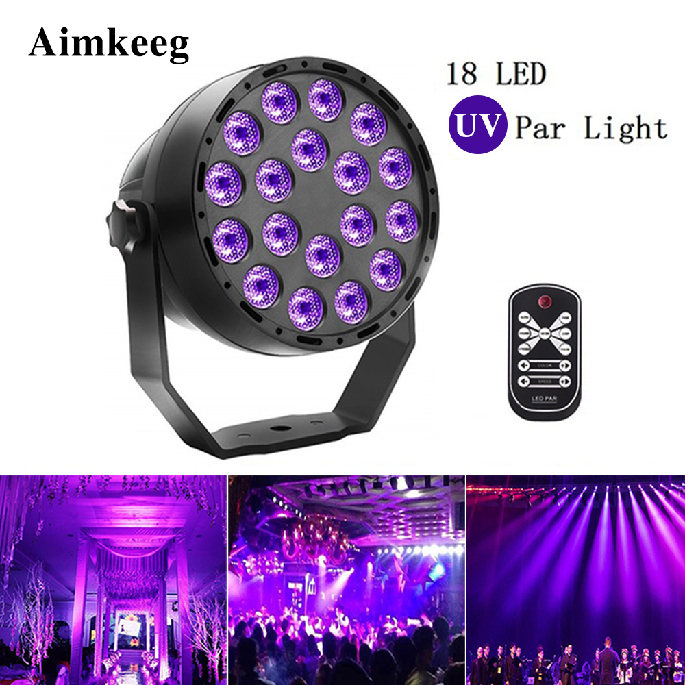 Aimkeeg <font><b>18</b></font> LED UV lighting effects Professional Stage Light Disco DJ Projector Machine Party with Wireless Remote Control image