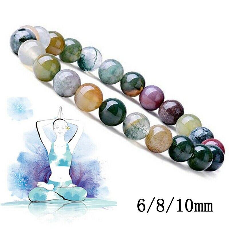 Браслет с бусинами из натурального камня диаметром 6, 8, 10 мм