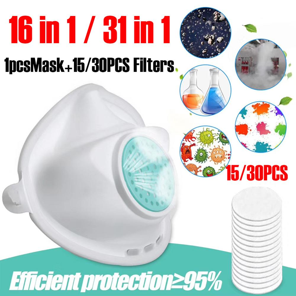 Face Protective Mask 3-Ply Non-woven Filter Insert Valve Face Mask Dustproof  Respirator Silicone Mouth Safety Mask Camp Travel