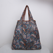 printing foldable green Bohemian Style shopping bag Tote polyester Folding pouch Lady handbags Convenient storage bags