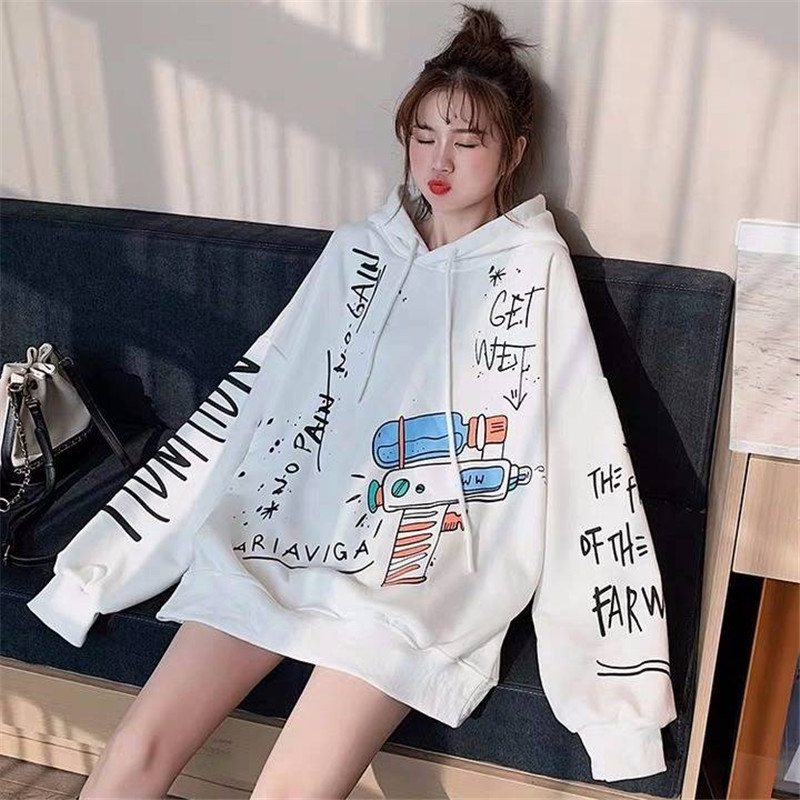 2019 White Women Loose Sweatshirts Autumn Long Sleeve Cute Cartoon Print Harajuku Hoodie Streetwear Kwaii Oversized Tops Girls