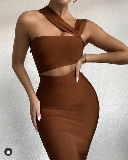 VeryYu Plain Shoulder Cutout Bodycon Dress Dresses Fashion  VerYYu