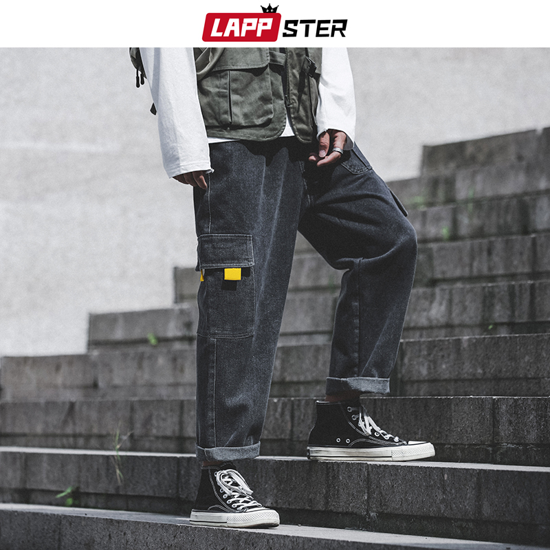LAPPSTER Streetwear Harajuku Jeans 2019 Men Black Jeans Harem Pants Hip Hop Blue Denim Pants Designer Jeans Men High Quality 5XL
