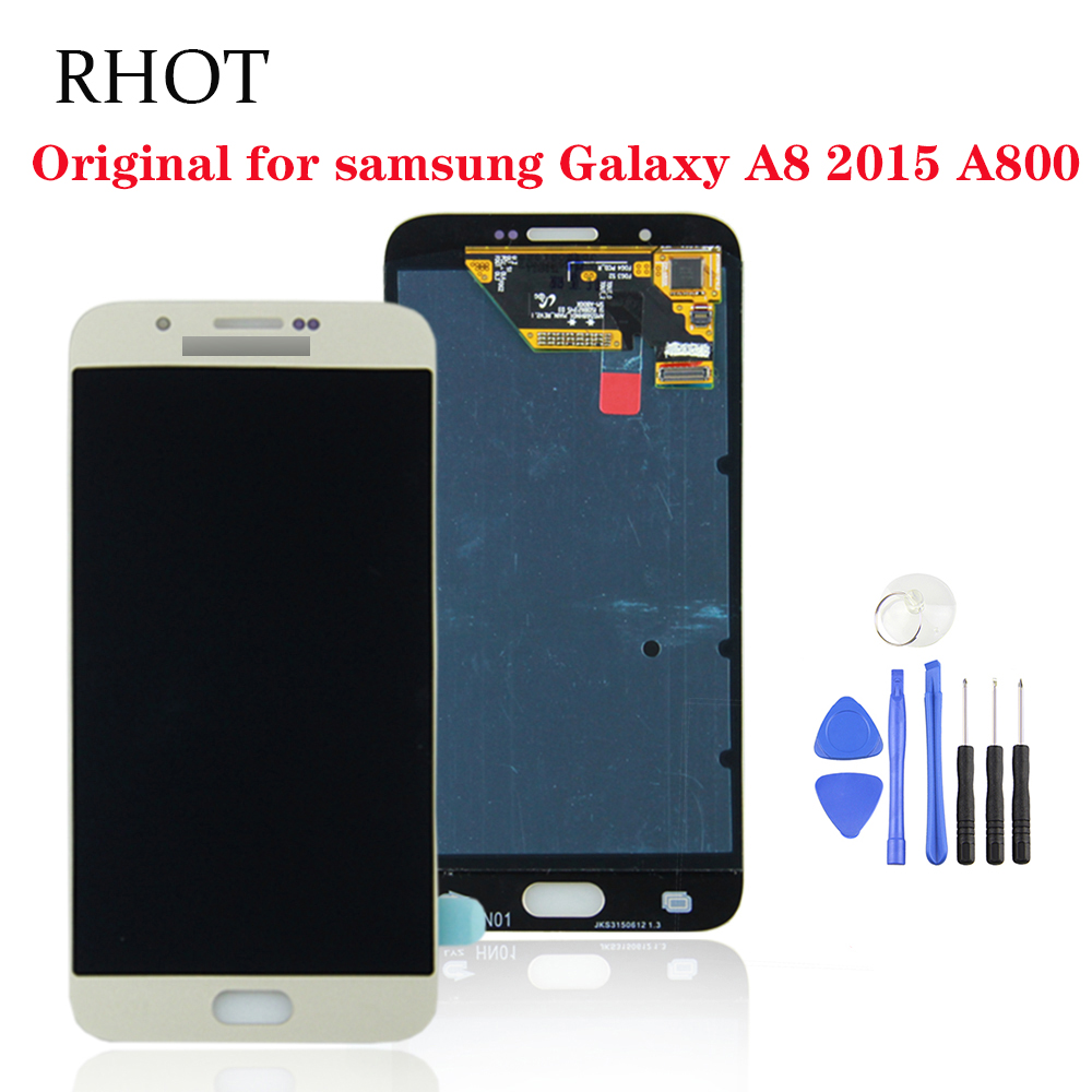 Original super AMOLED <font><b>A8000</b></font> SM-A800F <font><b>LCD</b></font> touch screen suitable for Samsung Galaxy A8 2015 A800 <font><b>LCD</b></font> screen assembly replacement image