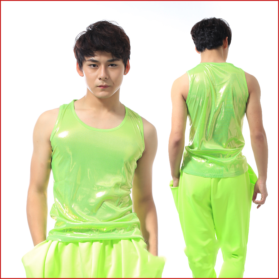 New Men Dance Costume Neon Green Top Sleeveless Bar Dj Costume Street Wear Jazz Dance Costume Male Nightclub Clothes BL2068