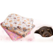 Warm Pet Mat Coral Fleece Paw Print Cat Dog Puppy Soft Blanket Cats Washable Comfortable Sleeping