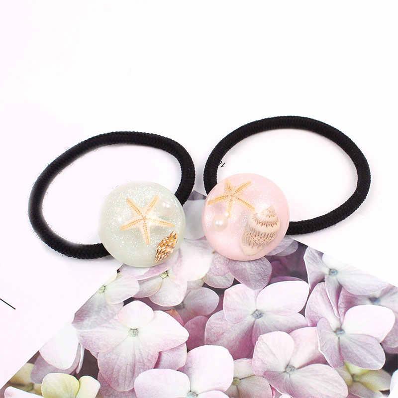 Mujeres accesorios para el pelo de resina redondas brillantes estrellas de mar Concha diademas de concha de cola de caballo titular niñas Scrunchies bandas elásticas para el cabello
