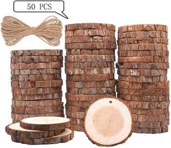 50pcs Natural Wood Slices Round Circle Tree Bark Log 2-7cm Wooden Circles for DIY Crafts Wedding Decorations Christmas Ornaments image