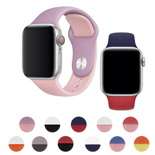 цена на Sport Silicone Dual Color Strap For Apple Watch Band 4 44/40mm Rubber Replacement Bracelet Band For iWatch Series 3 2 1 38/42mm