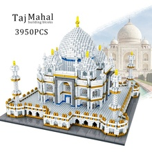 цена на 3950PCS Mini Blocks World Famous Architecture Taj Mahal 3D Model Building Blocks 3950 Pcs Bricks Creator Toys for Children